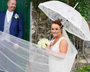 BRIDE AND GROOM SHELTERING FROM THE... 			</div> 				<a href=